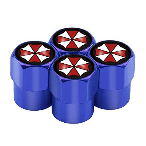 Tapas para válvula de neumáticos, 4 unidades, diseño de paraguas de riesgo biológico, emblema corporación, válvula de neumático de coche, tapón antipolvo para decoración (nombre del color: azul)