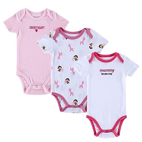 Sylvialuca 3pcs Coton d'été bébé Fille Manches Courtes vêtements Nouveau-né bébé Body
