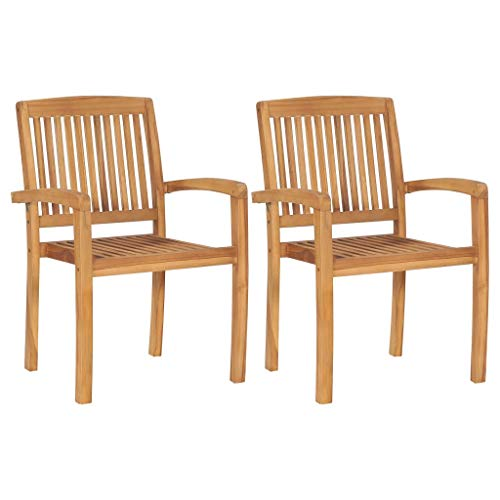 vidaXL 2X Teak Massiv Gartenstuhl Stapelbar Essstuhl Holzstuhl Stapelstuhl Gartensessel Gartenmöbel Stuhl Stühle Sessel Gartenstühle