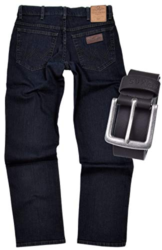 Wrangler TEXAS STRETCH Herren Jeans Regular Fit inkl. Gürtel (W42/L32, Blue Black)