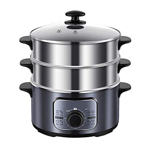 Dampfgarer 10L Kapazität | 3 Ebenen BPA-frei, herausnehmbar | 60-Minuten-Timer \u0026 1300 W-Leistung | Edelstahlgehäuse | Für gesunde Lebensmittel, Fleisch, Fisch und Gemüse Dampf |