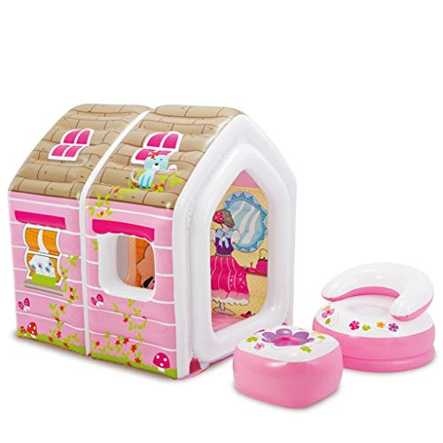 Hüpfburgen Aufblasbare Prinzessin Schloss Indoor Kinder Zelt Mädchen Aufblasbare Haus Spielzeug Kinderzimmer Geeignet Für Geburtstagsgeschenk Für Tochter (Mit Zwei Hockern)