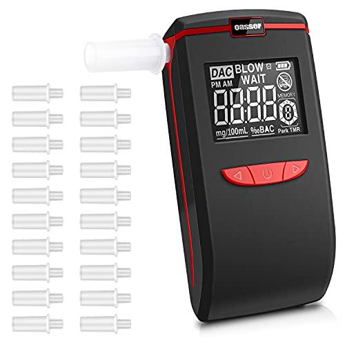 oasser Ethylotest Electronique Portable avec Ecran LCD Alcootest Numériqueà Capteur Semi-Conducteur avec 20 Embouts et 3 Piles Alcalines AAA (3 Watt)