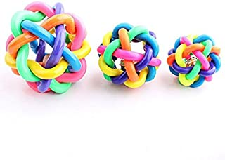 Teanfa New Pet Dog Puppy Cat Colorful Rubber Cord Woven Jingle Bell Ball Chew Toy