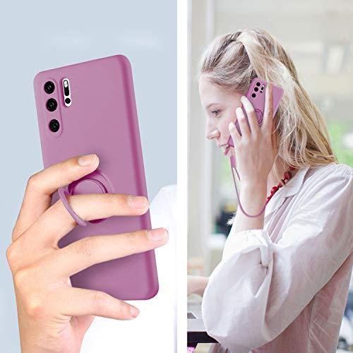SouliGo Huawei P30 Pro Hülle, Huawei P30 Pro Handyhülle Silikon Gel Slim Case Cover mit 360 Grad Ring Halter Ständer stabil Kratzfest Hülle für Huawei P30 Pro/Huawei P30 Pro New Edition Lila