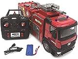 Camion de pompier télécommandé à distance 2,4 GHz, échelle rotative 22 canaux, voiture 1:14 avec sirène et lumière, réservoir d'eau 300 ml, cadeau pour enfants et adultes