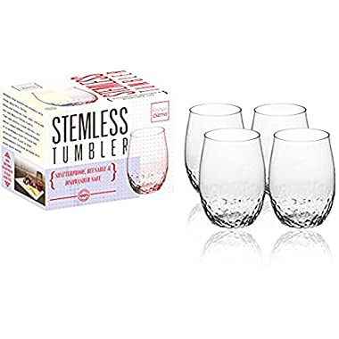 Kitchen Gizmo - Award Winning Unbreakable Wine Glasses With Hammered Finish 100% Tritan - Set of 4, 16oz Stemless Tumblers.