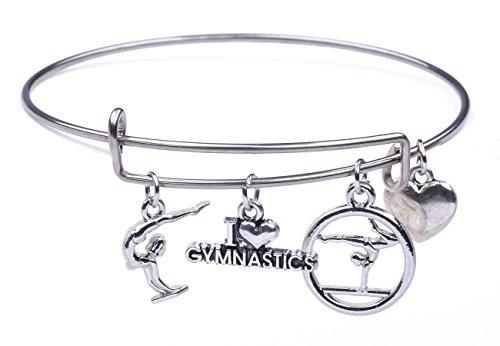 My Shape Pulsera de alambre de moda con texto en inglés 'I Love Gymnastic Charm Sports Fitness Bracelet para niñas y mujeres