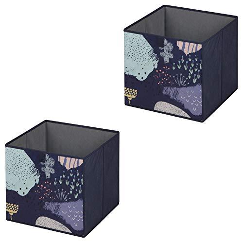 IDIMEX Faltbox Flower Night-2, Aufbewahrungsbox Ordnungsbox Stoffbox Regalbox, im 2er Pack, mit Blumen Motiv in dunkelblau