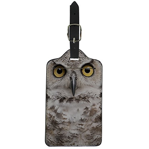 Coloranimal PU Leather Luggage Tags Suitcase Label Fancy 3D Owl Printed Tag