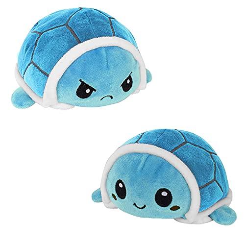 Tortuga de peluche, tortuga de peluche de doble cara, dulce muñeca reversible juguete infantil regalo juguete de peluche pequeño tortuga juguete para niñas niños (azul)