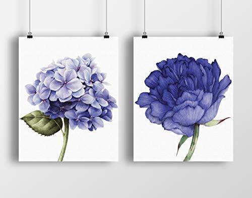 Purple Blue Flowers Watercolor Wall Art Print Set | Peony and Hydrangea Flower | Set of Two 8x10 UNFRAMED Canvas Textured Prints - Indigo Botanical, Floral, Farmhouse Decor