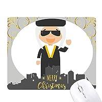サングラス白でイラクの漫画 クリスマスイブのゴムマウスパッド