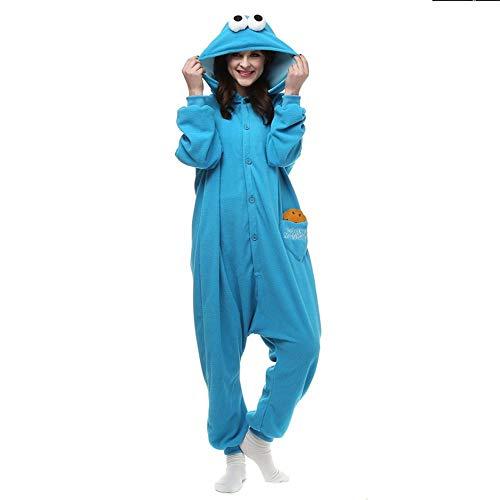 Pijama Adultos Polar Kigurumi Cookie Monster Cosplay Disfraz Animal Onesies Pijamas Halloween Carnaval Mascarada Fiesta Mono-Monstruo de Las Galletas_L.