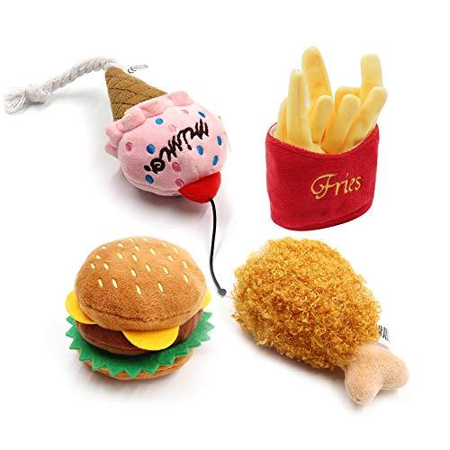 Hirkase Hundespielzeug, Hot Dog Burger, Haustierspielzeug, Spherical Sound Burger, hochwertige Vinyl Hunde Backenzähne (Hamburger + gebratene Hähnchenschenkel + EIS + Pommes Frites)