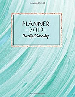 2019 Planner Weekly and Monthly: One Year Dated Aqua Blue & Turquoise Abstract Art Swirl Design - 12 Months Calendar With ...