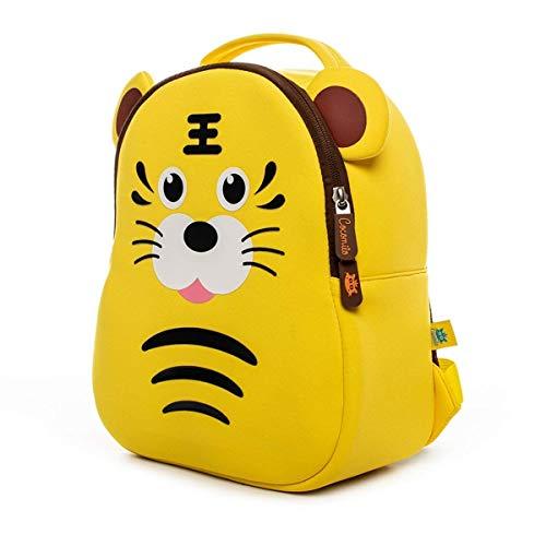 Cocomilo Rucksack, Schule, Kinder, Baby, Kindergarten, Mädchen, Jungen, niedlicher Rucksack mit Sicherheitsgurten Tigergelb S
