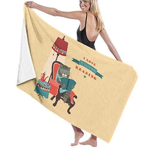 Toalla de Playa de Microfibra Gato Libro de Lectura Sentado en una Silla Toalla de baño Manta de Playa Toalla de Secado rápido para Viajes Piscina de natación Yoga Camping Gym Sport -30'X 60'