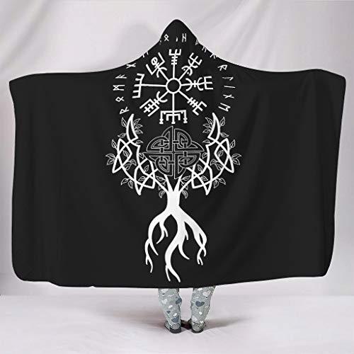Ethnic Tree of Life Vegvísir Scandinavian Runes Knot Totem Viking Yggdrasil Futhark Runes Norse Mythology Print Hooded Blankets Tribal Super Soft Warm Winter Fleece Blanket White 50x60 inch