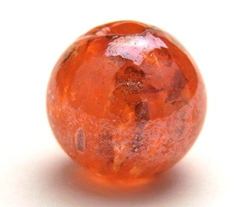 Perles de couleur / 12 mm / orange / or boiteux