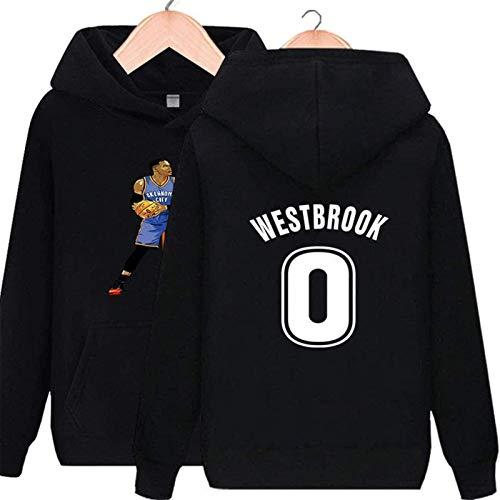 Sudadera con capucha NBA Unisex Houston Rockets Sudadera de baloncesto 0russell Westbrook Camisa de manga larga Prime Pullover Hoodie Fleece con bolsillo de canguro (Color: Negro, Tamaño: XXL) - unise