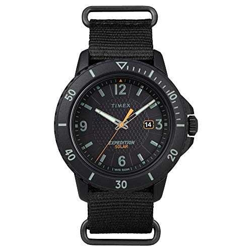 Timex Men's TW2U30300 Expedition Gallatin Solar Black Fabric Slip-Thru Strap Watch