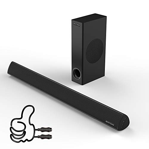 Sound Bar with Subwoofer for TV, BESTISAN Wired & Wireless Bluetooth 5.0 SoundBar, Home Audio Speaker for TV, Optical/Aux/USB/Coax Connection (Black,120W 2.1, Wall Mountable)