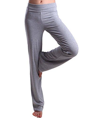 HDE Women's Fold Over Waist Yoga Lounge Pants Flare Leg Workout Leggings (Heather Gray, Small)
