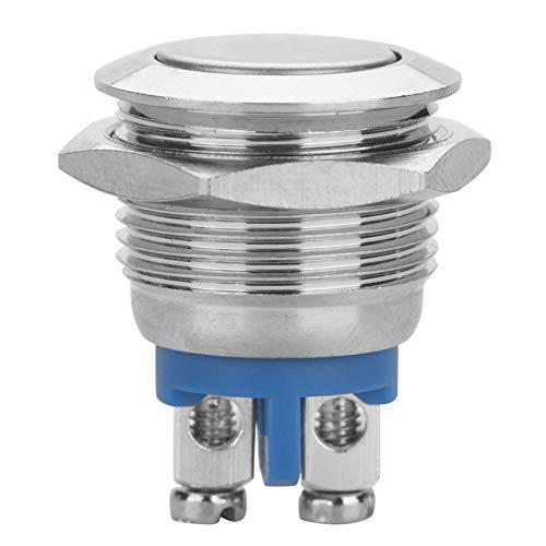 Interruptor de botón de metal de 2 clavijas Momentáneo de 16 mm Orificio de montaje Aplicaciones industriales para proyectos de electrónica de construcción(Flat Head)