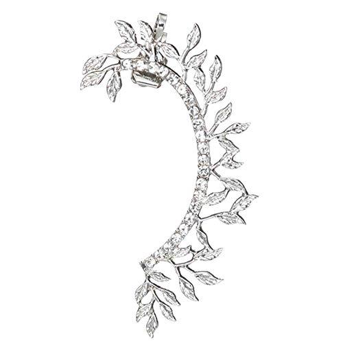 Danigrefinb Ear Cuff for Women, 1Pc Vintage Leaf Curved Full Rhinestone Ear Cuff Charming Women Earrings Clip On Earrings Jewelry(White K)