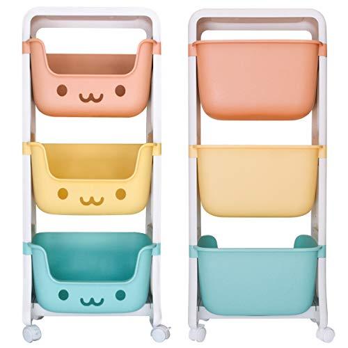 DoubleBlack Cesto Portaoggetti per Giocattoli Organizzatore Snack per Bambini Carrello Mobile in Plastica a 3 Strati per Sala Giochi e Scuola Materna