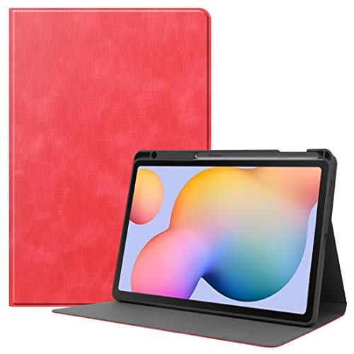 Zhangsihong Protective Case For Samsung Galaxy Tab S6 Lite P610 / P615 Cowhide Texture TPU Tablet Horizontal Flip Leather Case with Holder & Sleep/Wake-Up Function & Pen Slot (Color : Red)