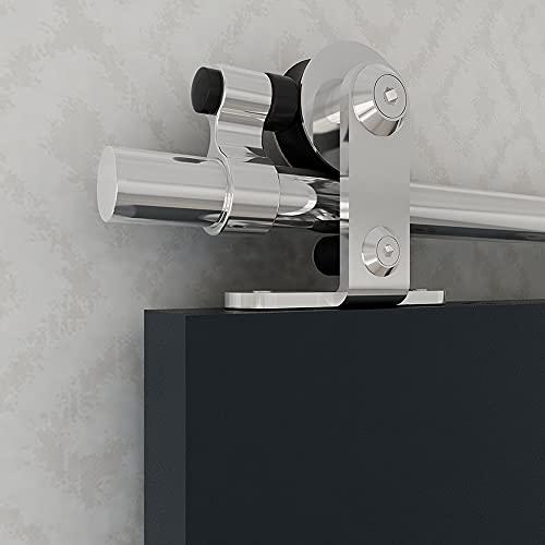 TSMST 5FT/152cm Herraje para Puerta Corredera Kit de Acero Inoxidable Accesorios para Puertas Correderas, Riel Juego para Puerta de Madera Soltera-Estilo T