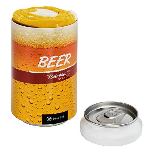 Rainbow Socks – Man Vrouw Sokken Bier in Blik Cadeau Grap 1 Paar