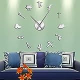 RUOXI Lineman Silueta DIY Arte de Pared Pegatinas de Espejo 3D DIY Reloj de Pared Electricista sin Marco Reloj de Pared Grande decoración del hogar