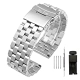 Kai Tian 20mm Brushed Finish Stainless Steel Watch Band Strap Bracelet Wristband with Double Buckle Clasp for Women Men,Silver