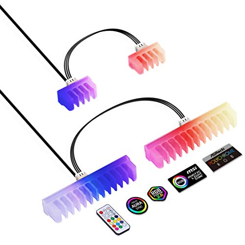 EZDIY-FAB RGB Cable Comb - 2X 24-Pin and 6X 8-Pin,RGB LED Combs for Cable Management with RF Control