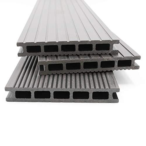 HORI® WPC-Terrassendielen Malta grau I Komplett-Set inkl. 40x60 mm Unterkonstruktion & Clips I Dielenlänge 3,20 m I Fläche 5 m²