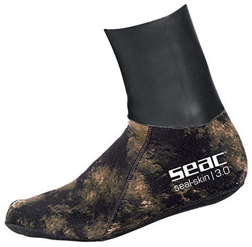 Seac Skin - Calcetines térmicos para Apnea y Pesca subacuática, neopreno, camuflaje de 3 mm, unisex, adulto, camuflaje marrón, talla XL