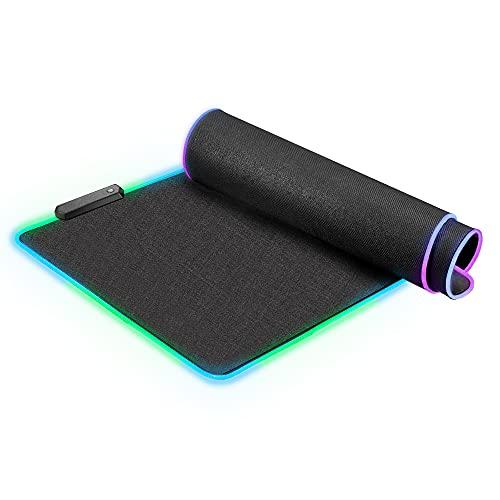 Alfombrilla de ratón RGB Grande para Juegos (800×300×4 mm) - Rytaki LED con 12 Modos de luz, Goma Antideslizante, Teclado extendido y Alfombrilla de ratón para PC, portátil, Escritorio (Negro)