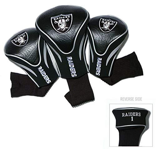 Team Golf NFL Oakland Raiders Contour Golf Club Headcovers (3 Count), Numbered 1, 3, & X, Fits Oversized Drivers, Utility, Rescue & Fairway Clubs, Velour lined for Extra Club Protection