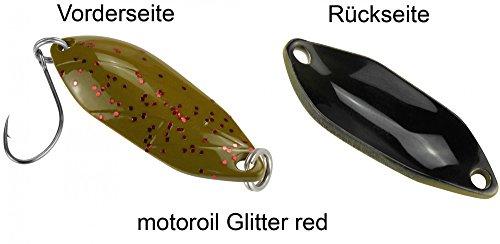 Spoon Blinkender Forellenblinker 3,3g zum Wurffischen, Blinker für Barsche und Forellen, Motoröl Glitter Red