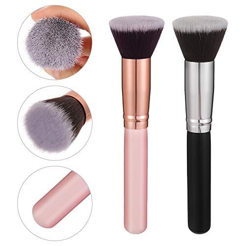 FANTESI 2 Pcs Foundation Makeup Brush, Face Brushes Buffing Brush Blending Brush Flat Top Kabuki for Blending Concealer, Powder, Cream and Liquid Make Up