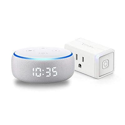 Echo Dot with clock (Sandstone) Bundle with TP-Link simple set up smart plug