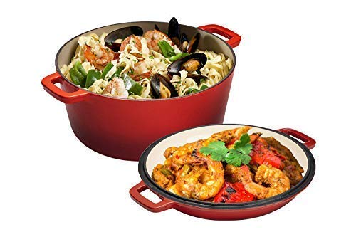 2 in 1 Enameled Cast Iron Double Dutch Oven & Skillet Lid, 5-Quart, Fire Red - Induction, Electric,...