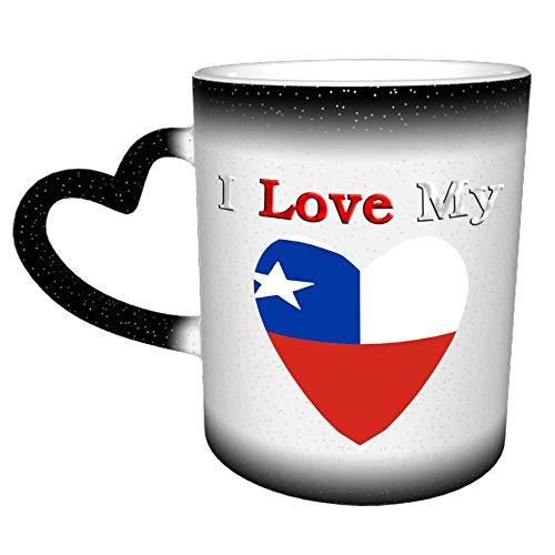 Taza de café con la bandera de I Love My Love de Chile, tazas de café con asa de corazón, tazas de té, regalo para hombres, mujeres, parejas