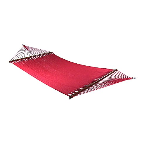 Sunnydaze Polyester Rope Hammock, Large Double Wide Two Person with Spreader Bars - for Outdoor Patio, Yard, and Porch - Red