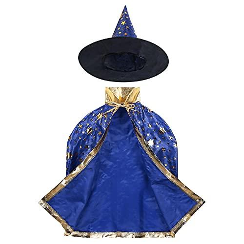 YUHUA-SHOP1983 Niños Halloween Traje Bruja Mago Capa Capa con Sombrero Puntiagudo Conjunto Anime Cosplay Fiesta Estrellas patrón niñas niños Mago Traje Bata de Manto (Color : Blue)