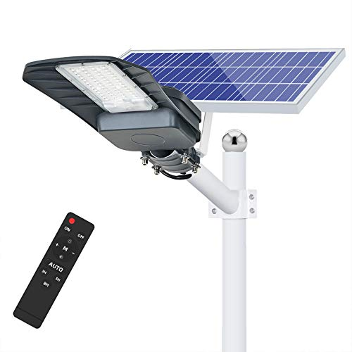100W Solar Street Light Outdoor,Dusk to Dawn Solar Lights Outdoor with Remote Control,6500K Solar LED Flood Light for Parking Lot,Yard,Street,Basketball Court