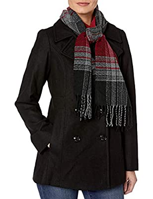 LONDON FOG Women's Plus-Size Double Breasted Peacoat with Scarf, Black, 2X